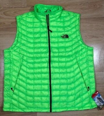 Men's The North Face Thermoball full zip bright Power Green winter Vest XL The North Face Winter Vest