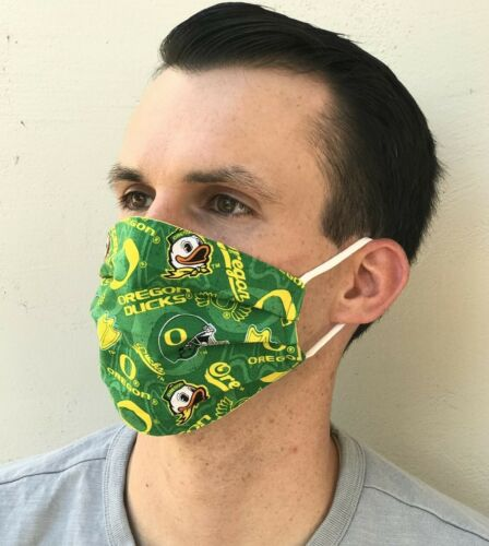 Face Mask Oregon Ducks Print Pleated With Nose Wire Secure Fit  Handmade in USA
