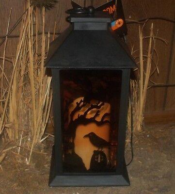 HALLOWEEN LED LIGHTED FLICKERING CANDLE METAL LANTERN CROW RAVEN BAT SILHOUETTE (Halloween Raven Silhouettes)