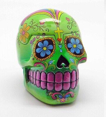 Green Day of the Dead Sugar Skull Mexican Dia De Los Muertos Trinket Box