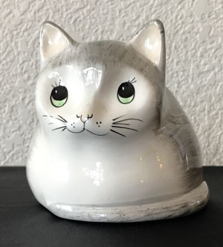 Vintage Babbacombe Devon Pottery Gray Cat Piggy Bank Money Coin Box Painted