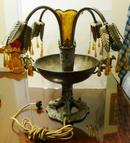 Unique Antique Vintage Art Deco Center Piece Table Lamp w/Amber Crystals