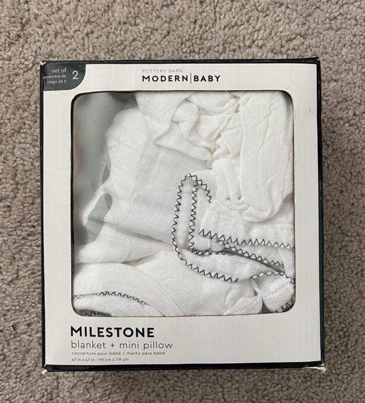$25 New Pottery Barn Kids Modern Baby Milestone Blanket And Pillow