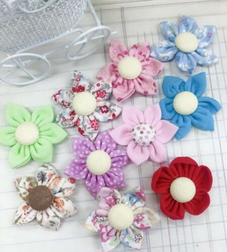 "20 Handmade Fabric Flower 1.75"" Applique/Trim/Sewing/Craft/Bow H481-Select Color"