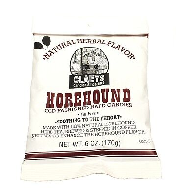 Claey's HOREHOUND Old Fashioned Hard Candy (24)  6 OZ BAGS - FRESH & BEST PRICE
