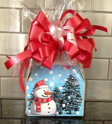 Christmas Snowman Candy Gift Box-Basket Wrapped With  Red Bow & Card