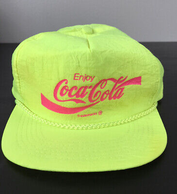 Vtg 80s Coca Cola Coke Soda Pop Neon Green Pink Snapback Hat Beach Wear Cap
