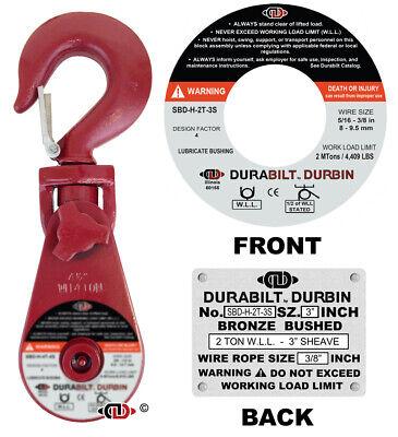 Durabilt Snatch Block 4 Ton Wll W Swivel Hook - Fits Rope Size 38 - 12
