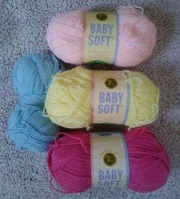 Lion Brand Baby Soft Yarn Lot, Baby Yarn Stash! Lot of 4 Pastel Yarn Skeins Baby Soft Yarn Pastel