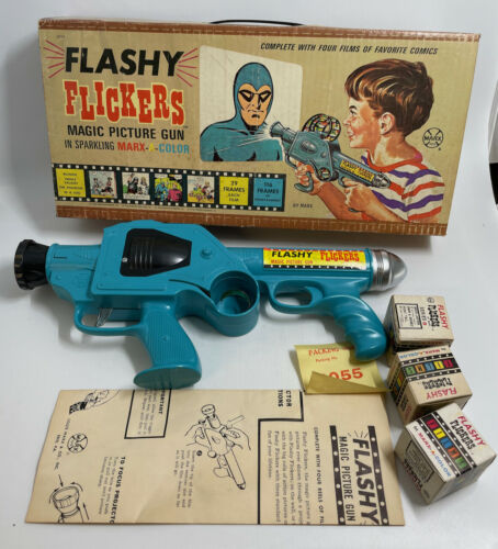 MARX THE PHANTOM 1965 FLASHY FLICKERS MAGIC GUN & FILMS MIB.
