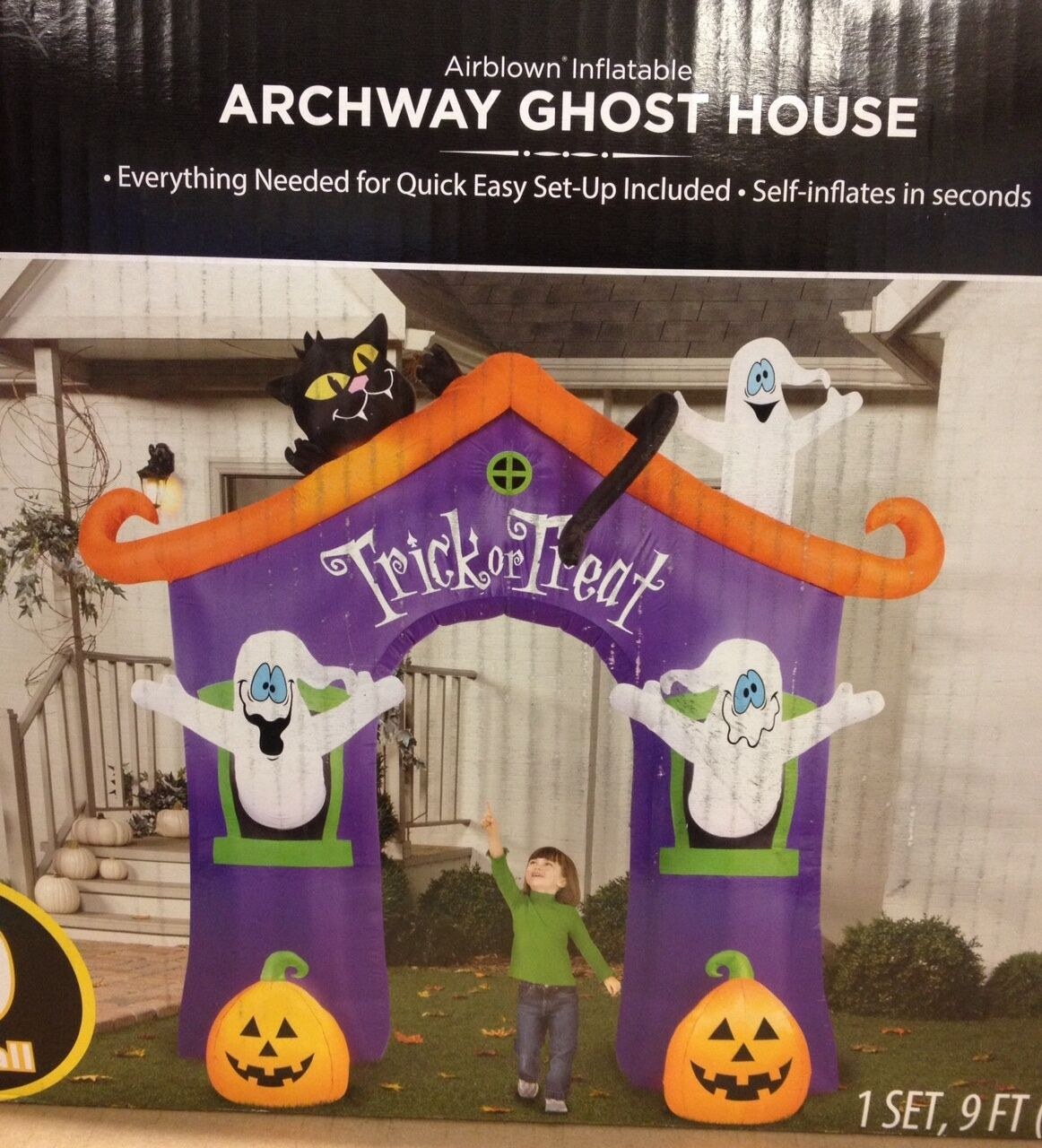 Trick Or Treat Ghost House Archway Airblown Inflatable Gemmy Halloween Yard Prop