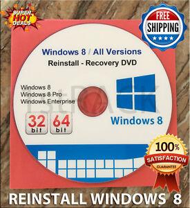 Windows 8  All Versions  32 & 64bit  - Restore - Repair -  Reinstall DVD w/HD