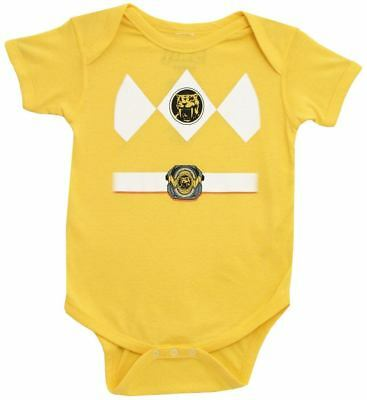 Infant Baby Mighty Morphin Power Rangers Yellow Ranger Costume Romper (Infant Power Ranger Costume)