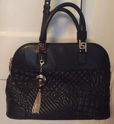 Versace Italy Black Quilted Leather Vanitas Barocco Shoulder Handbag Satchel