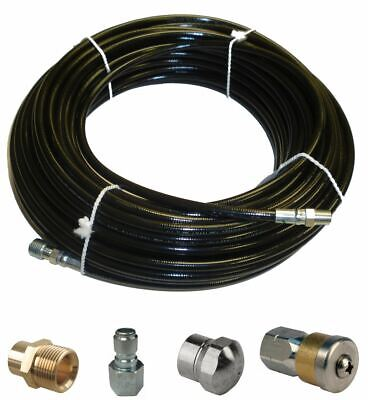 Sewer Jetter Kit - 100 X 18 Hose 2 Nozzles And 2 Fittings 1 To 3 Pipes