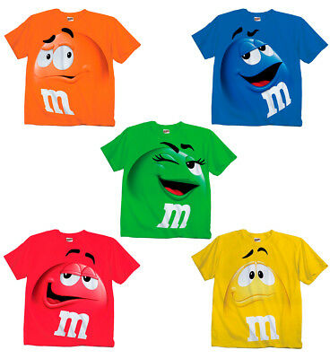 Adult & Youth Kids M&M's M&M Face Chocolate Candy Costume T-Shirt Tee M M (Adult Chocolate Tee T-shirt)