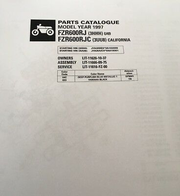 YAMAHA FZR 600 RJ 3HHH RJC 3UU8 PARTS LIST MANUAL CATALOGUE 1997 paper copy.