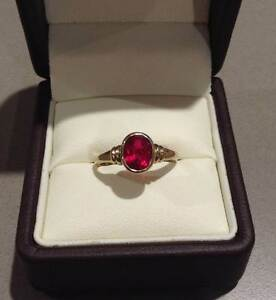 Created Ruby ring. 9ct gold. Size N 1/2 Eaton Dardanup Area Preview