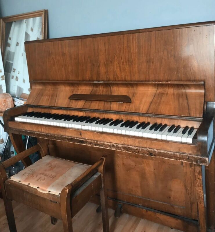 Mozart Upright Brown Piano & Stool