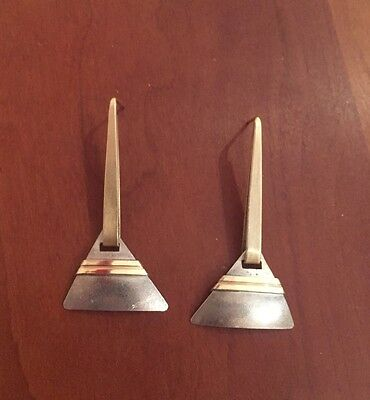 Vintage Ed Levin Sterling Silver Modernist Abstract Earrings 14k and sterling
