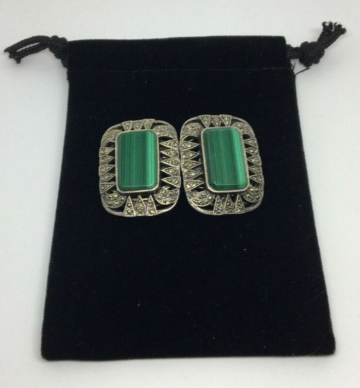 Vintage Sterling Silver 925 Malachite and Marcasite Large Clip Earrings 28.3 gra