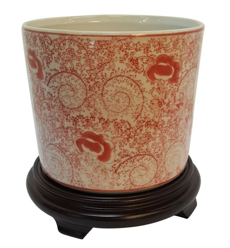 "Porcelain Chinese Planter in Red and White Floral Design 8"" Dia"