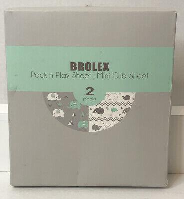 Pack n Play Stretchy Fitted Pack n Play Playard Sheet Set-Brolex 2 Pack Porta...