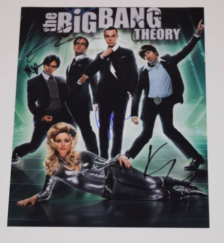 The Big Bang Theory Cast Signed Autographed 11x14 Photo x5 Jim Parsons Cuoco COA