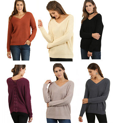 Back Cable Knit Top - UMGEE Womens Drawstring Back Cable Knit Long Sleeve Sweater Top Blouse S M L