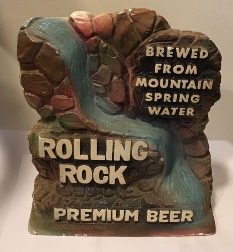 ROLLING ROCK Beer Back Bar Chalk Statue Brewed from Spring Mountain Water Fall