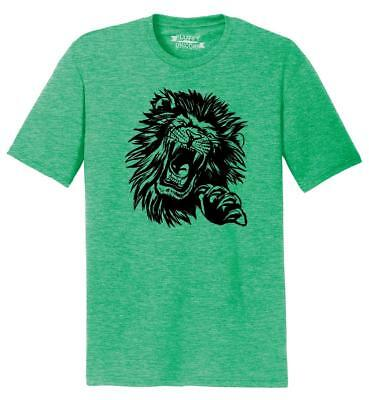 - Mens Lion Face Tri-Blend Tee Animal Graphic