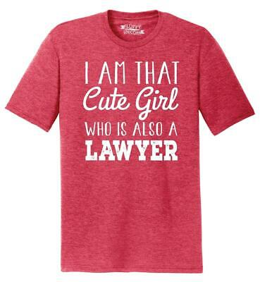 Mens I'm That Cute Girl Also Lawyer Tri-Blend Tee Law School College Girlfriend