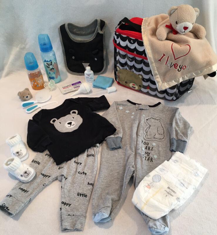 Reborn Baby Doll Bear Diaper Bag W/bottles, Pacifiers, Accs