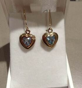 Brand new Topaz and 9 ct Gold Heart earrings Eaton Dardanup Area Preview