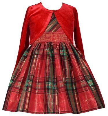 Bonnie Jean Girls Santa Holiday Christmas Cardigan Velvet Red Dress Set 2T 3T 4T