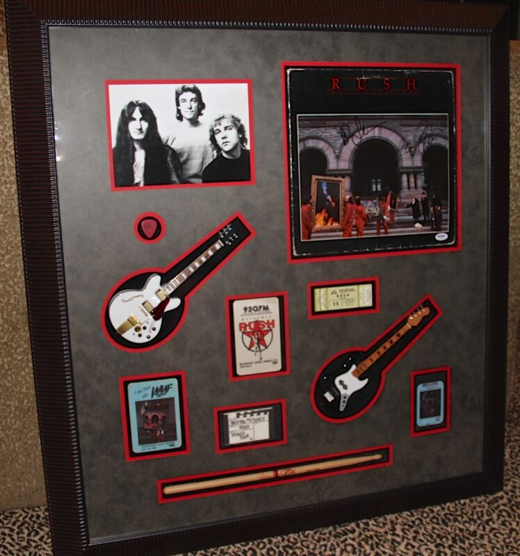 Rush MOVING PICTURES signed autographed LP record display pass guitar PSA DNA