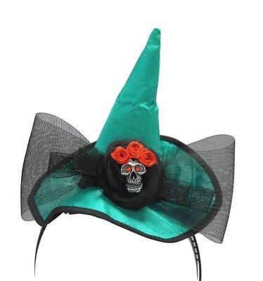Mini Witch Hat Headband (Mini Emerald Green Witch Hat Skull Bow)