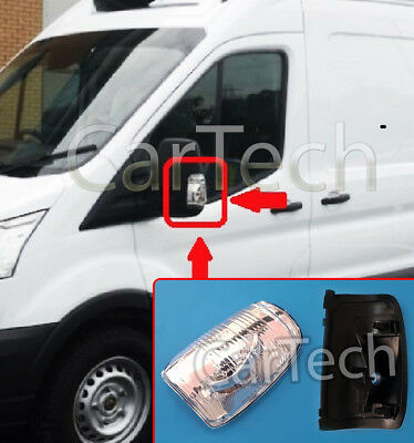 Car Parts - DOOR WING MIRROR INDICATOR LENS CLEAR LH PASSENGER SIDE FOR FORD TRANSIT MK8 14>