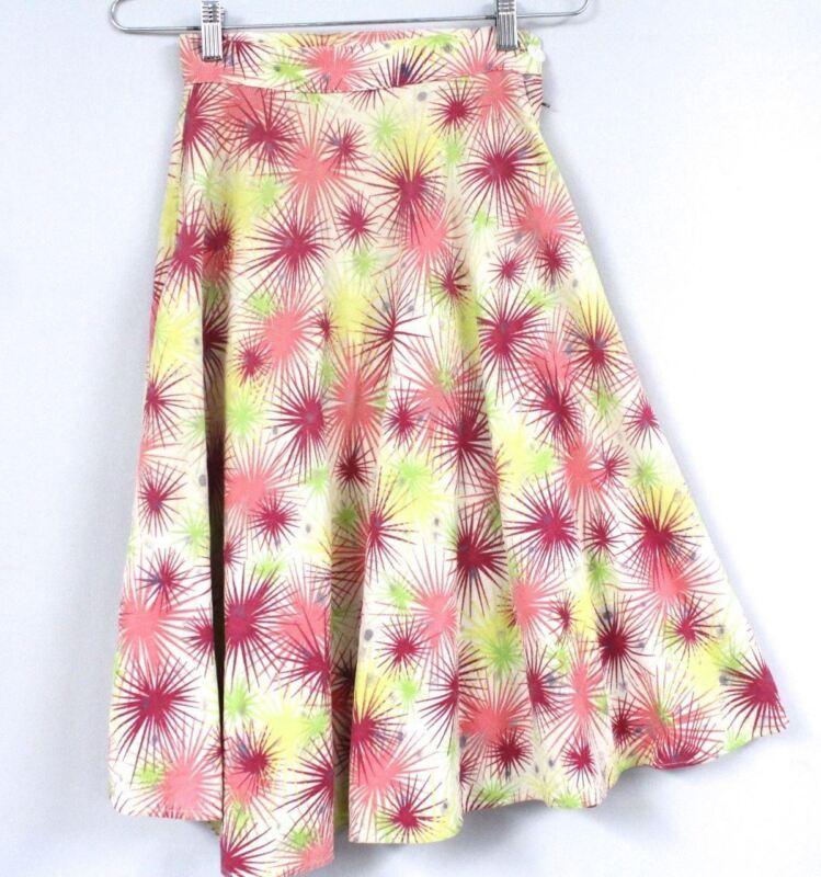 3 Vintage Girls Skirts A Line Windowpane Cotton Print Assorted XS Women 40s WW2