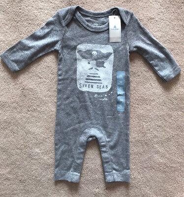 BNWT - BABY GAP Boy Grey Pirate Sleepsuit Babygrow - Size 0-3 Months