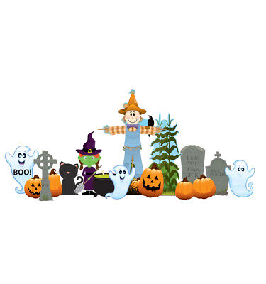 HALLOWEEN - YARD SIGN SET - BRAND NEW - OUTDOOR PLASTIC DECORATION - Make Halloween Decorations Outside