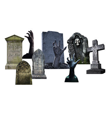 TOMBSTONES HALLOWEEN - YARD SIGN SET - BRAND NEW OUTDOOR PLASTIC DECORATION - Make Halloween Decorations Outside