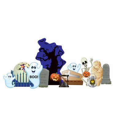 HALLOWEEN GRAVEYARD - YARD SIGN SET - BRAND NEW OUTDOOR PLASTIC DECORATION 2632 - Make Outdoor Halloween Decorations