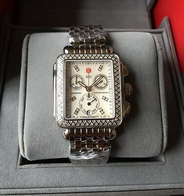 NEW Authentic Michele Watch Deco Day Diamond Signature MOP MWW06P000099 Watch