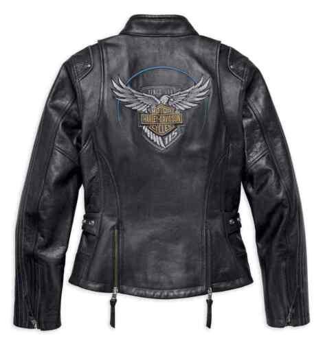 NEW Harley-Davidson Womens 115th Reflective Black Leather Jacket Sz Petite Large
