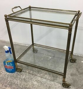 Vintage 1950s  Brass & Glass Tea Trolley / Cocktail Trolley Artarmon Willoughby Area Preview