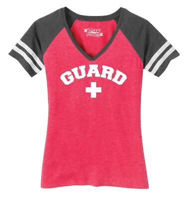 Ladies Guard Lifeguard Shirt Game V-Neck Tee Costume Halloween Summer