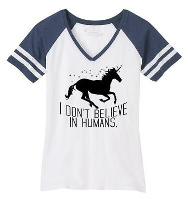 Ladies I Don't Believe In Humans Funny Unicorn Tee Game V-Neck Tee Belief