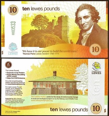 England / Lewes :  1st. series £10 Banknote- very different Yellow design, UNC
