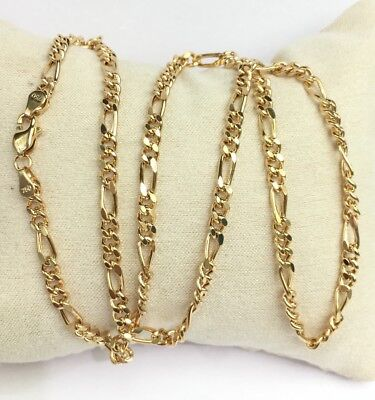 """- 18k Solid Yellow Gold Figaro Chain/Necklace Dimond Cut. 22"""". 10.33 Grams"""